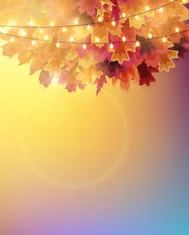Błyszczące jesienne liście transparent tło. ilustracji wektorowych