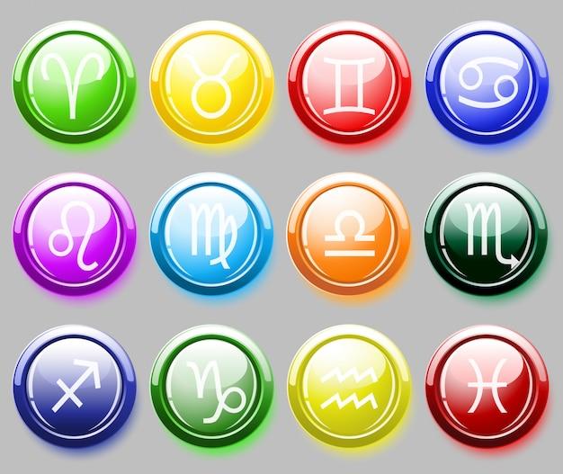 Błyszczące kolorowe przyciski ze znakami zodiaku dla sieci web