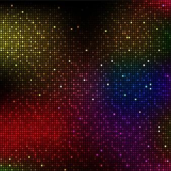Błyszczące kolorowe tło pikseli. tło muzyczne lub świateł dyskotekowych.