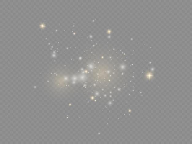 Błyszczące magiczne drobinki kurzu białe iskry złote gwiazdy świecą efekt świetlny świątecznych iskier