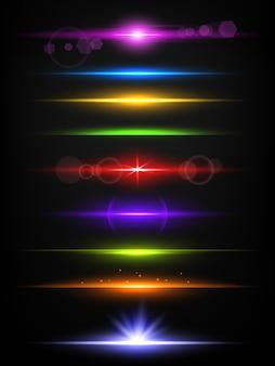 Błyszczące neonowe linie. granice z efektem blasku abstrakcyjne światło lampy błyskowej