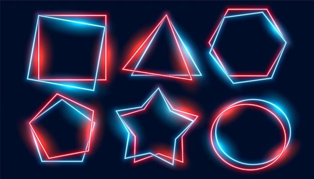 Błyszczące neonowe ramki ustawione w różnych geometrycznych kształtach