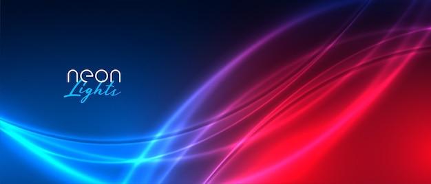 Błyszczące neonowe smugi światła czerwonego i niebieskiego tła