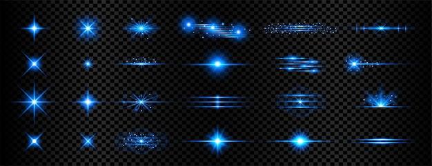 Błyszczące niebieskie przezroczyste światło efekt flary tło