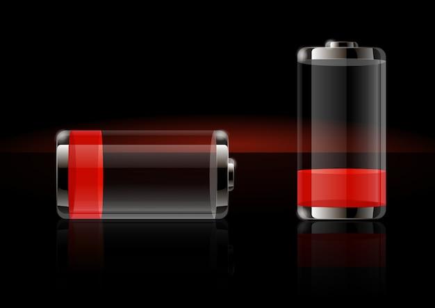 Błyszczące przezroczyste ikony baterii