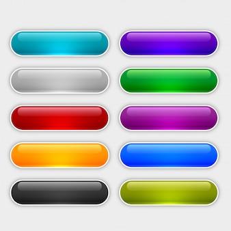 Błyszczące przyciski internetowe ustawione w różnych kolorach