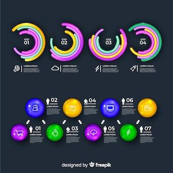 Błyszczące realistyczne elementy infographic