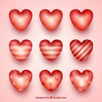 Błyszczące serca z różnych wzorów