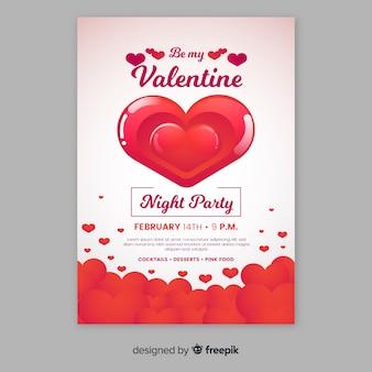 Błyszczące serce valentine party plakat