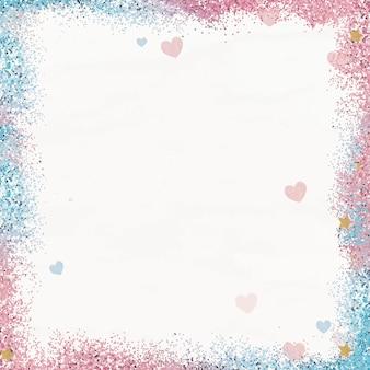 Błyszczące serce wzór rama wektor gradient