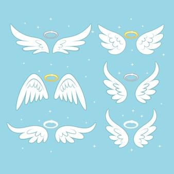 Błyszczące skrzydła bajki anioła z nimbem złota, aureola na białym tle.