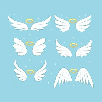 Błyszczące skrzydła wróżki anioła z nimbem złota, aureola na białym tle.