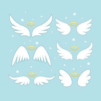 Błyszczące skrzydła wróżki anioła ze złotą nimbową ilustracją
