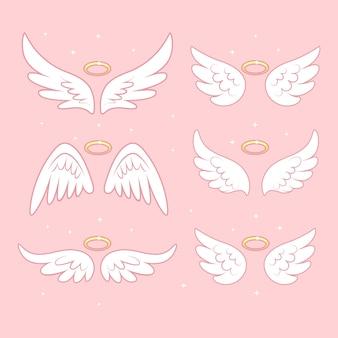 Błyszczące skrzydła wróżki anioła ze złotym nimbem