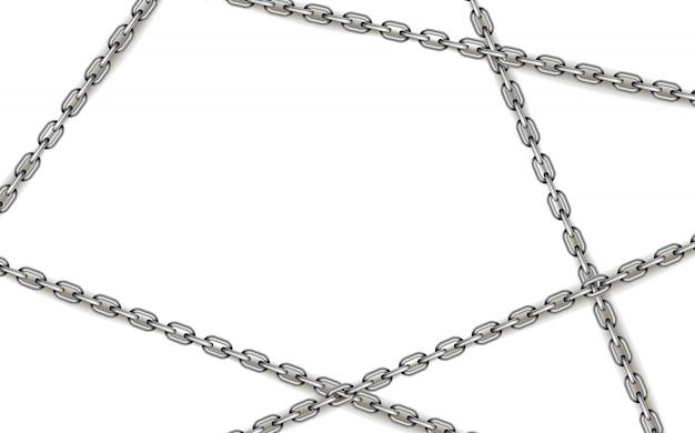 Błyszczące srebrne metalowe skrzyżowane łańcuchy na białym tle