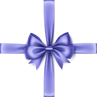 Błyszczące światło niebieskie fioletowe satynowe łuk i wstążka widok z góry bliska na białym tle