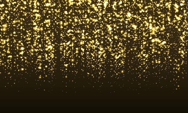 Błyszczące tło. konfetti ze złotym brokatem. abstrakcyjne cząstki. musujące złoto. ilustracja. kolor brokat na czarnym tle. złota tekstura.