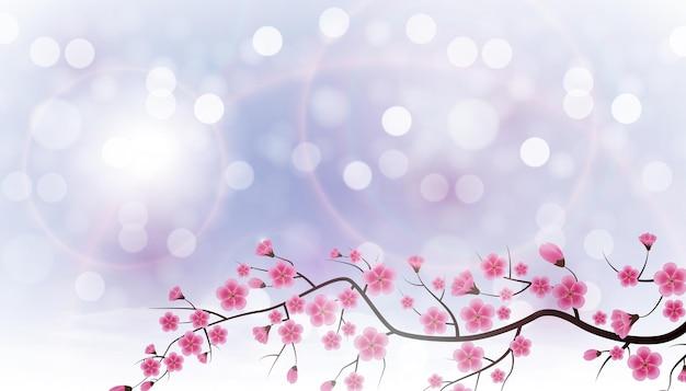 Błyszczące tło wiosna z kwiatami sakura.