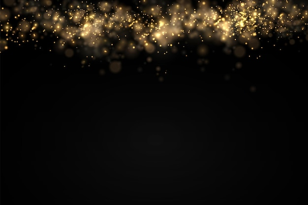 Błyszczące złote cząsteczki kurzu bokeh świąteczny blask efekt świetlny blask żółte iskry gwiazda