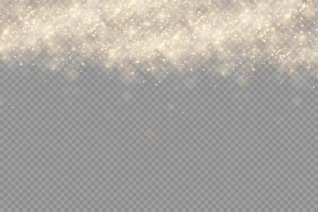 Błyszczące złote cząsteczki kurzu efekt światła bokeh sparkle sparkle yellow sparks star