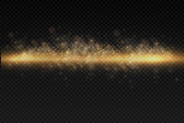 Błyszczące złote drobinki pyłu bokeh świąteczny blask efekt świetlny blask żółte iskry gwiazda