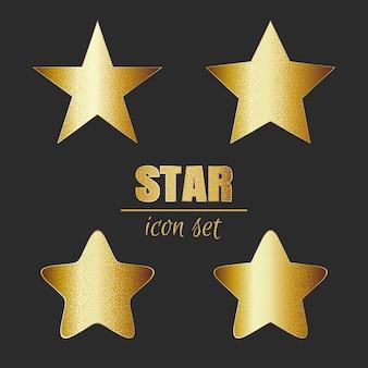 Błyszczące złote gwiazdki ikony na białym tle na ciemnym tle