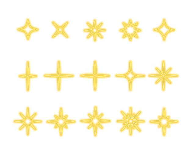 Błyszczące złote gwiazdy błyszczą i migoczą zestaw jasnych, nagłych błysków, olśniewających efektów świetlnych
