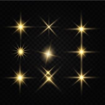 Błyszczące złote gwiazdy efekty świetlne blask blask blask eksplozja złote światło