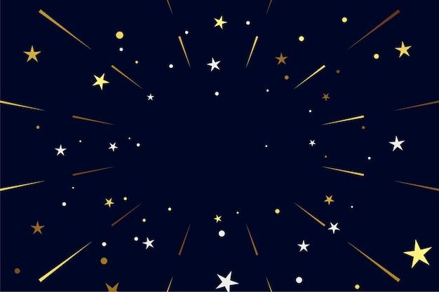 Błyszczące złote gwiazdy konfetti pękają w tle