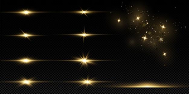 Błyszczące złote gwiazdy na białym tle. efekty, blask, linie, blask, eksplozja, złote światło.
