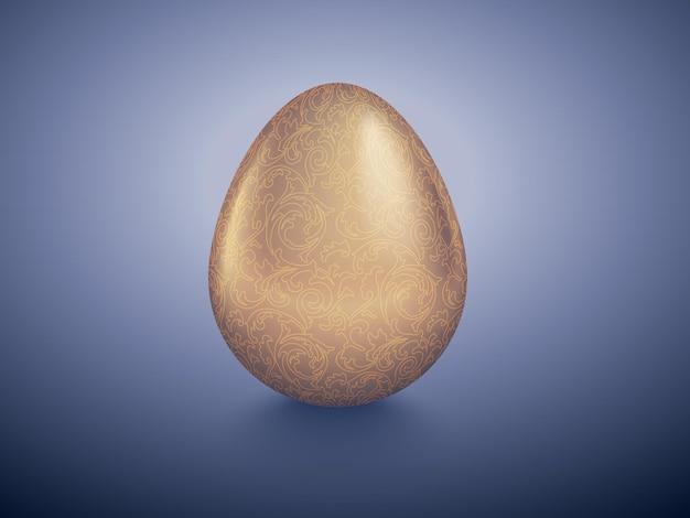 Błyszczące złote jajko z wyrytym kwiatowym wzorem. purpurowe tło retro głęboko.