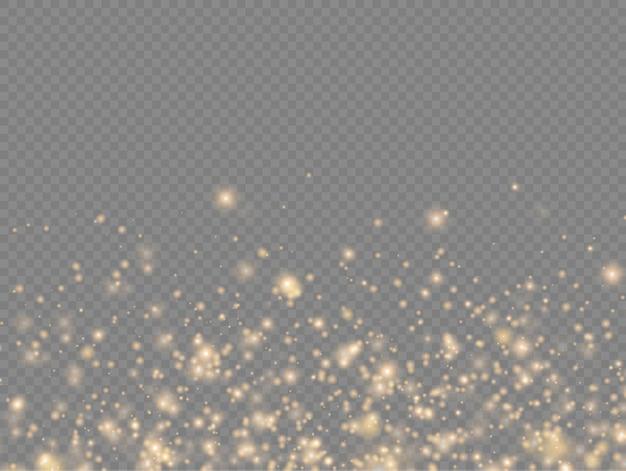 Błyszczące Złote Magiczne Drobinki Kurzu Błyszczą Blask świecą żółte Iskry Kurzu I Gwiazda Premium Wektorów