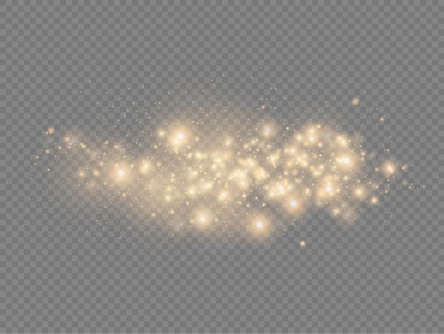 Błyszczące Złote Magiczne Drobinki Kurzu Błyszczą Blask świecą żółtymi Iskrami Kurzu I Gwiazdą Premium Wektorów