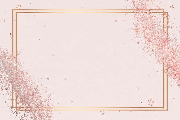Błyszczące złote obramowanie wektor świąteczny brokatowy wzór gwiazdy ramki
