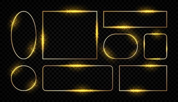 Błyszczące złote ramki. świecące linie obramowania dla kart okolicznościowych, zestaw kwadratowych i okrągłych kształtów