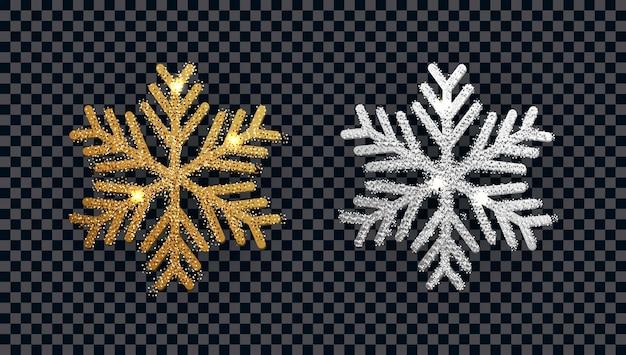 Błyszczący 3d złoty i srebrny płatek śniegu z brokatową teksturą.