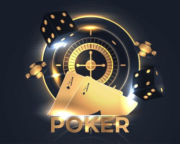 Błyszczący baner pokerowy kasyna