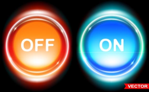 Błyszczący błyszczący włączanie i wyłączanie ikony przycisków internetowych