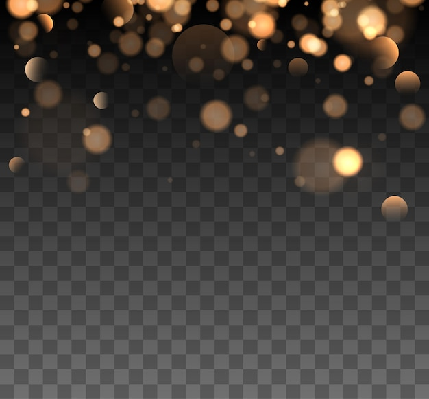 Błyszczący bokeh na przezroczystym tle złote światła bokeh ze świecącymi cząsteczkami