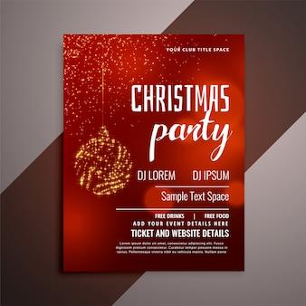 Błyszczący czerwony christmas party zaproszenie projekt ulotki