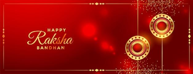 Błyszczący czerwony raksha bandhan festiwalu pozdrowienie banner