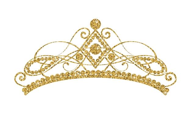 Błyszczący diadem. złota tiara odizolowywająca na białym tle.