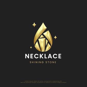Błyszczący diamentowy naszyjnik z kamieniami projektowanie logo