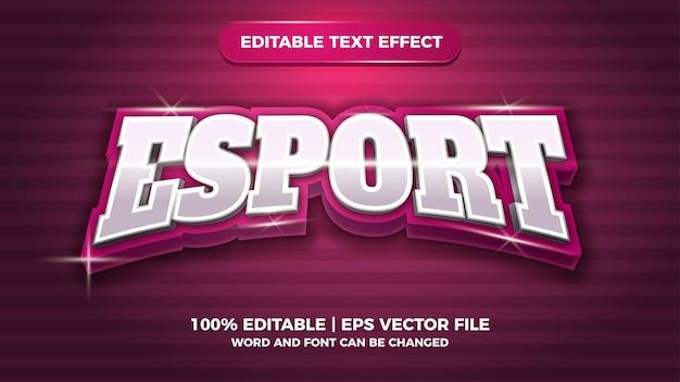 Błyszczący, edytowalny efekt tekstowy esport