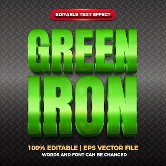 Błyszczący, edytowalny efekt tekstowy zielonego żelaza