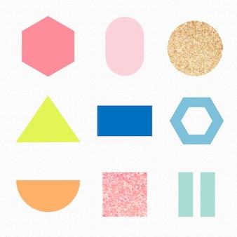 Błyszczący geometryczny kształt naklejki, kolorowy pastelowy zestaw wektorów brokatu