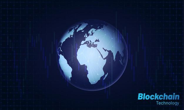 Błyszczący globus z sieci blockchain.