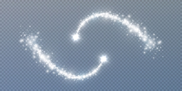 Błyszczący gwiezdny pył. magiczne, błyszczące fale pyłu świecące ślady gwiazd, świąteczne lśniące efekty świetlne.