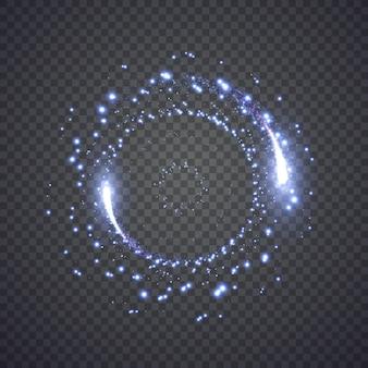 Błyszczący krążek światła pyłu gwiezdnego. ilustracja na białym tle. koncepcja graficzna dla twojego projektu