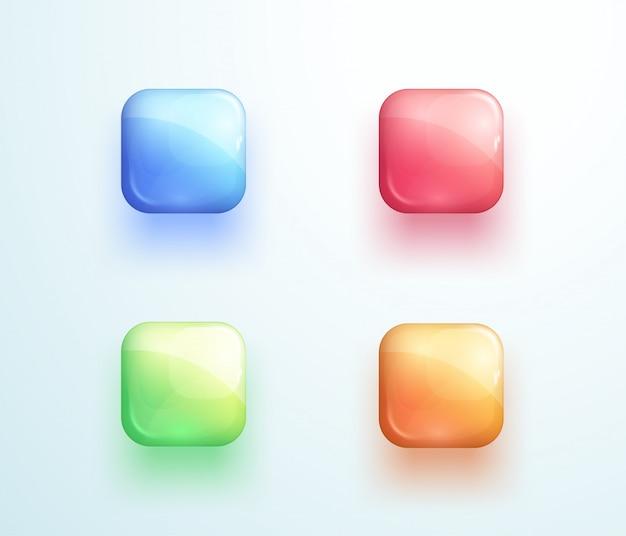 Błyszczący kwadratowy przycisk kształt ikona wektor zestaw elementów